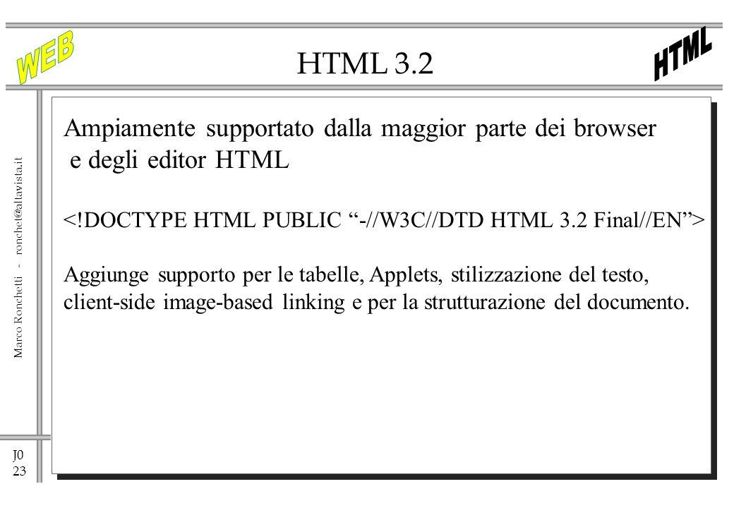 J0 23 Marco Ronchetti - ronchet@altavista.it HTML 3.2 Ampiamente supportato dalla maggior parte dei browser e degli editor HTML Aggiunge supporto per