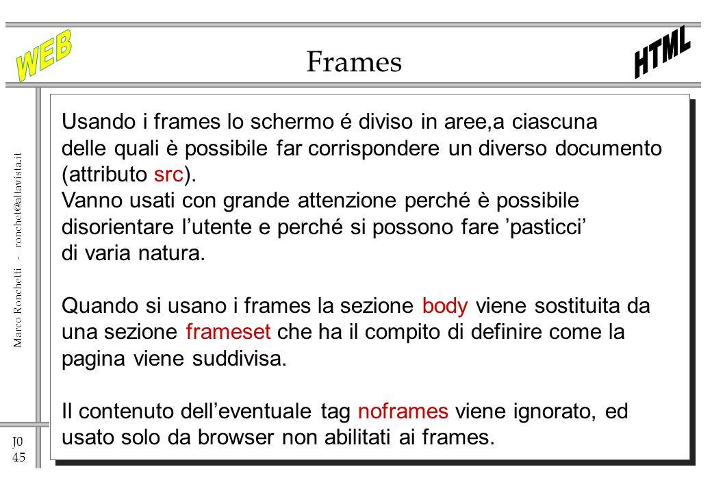 J0 45 Marco Ronchetti - ronchet@altavista.it Frames Usando i frames lo schermo é diviso in aree,a ciascuna delle quali è possibile far corrispondere u