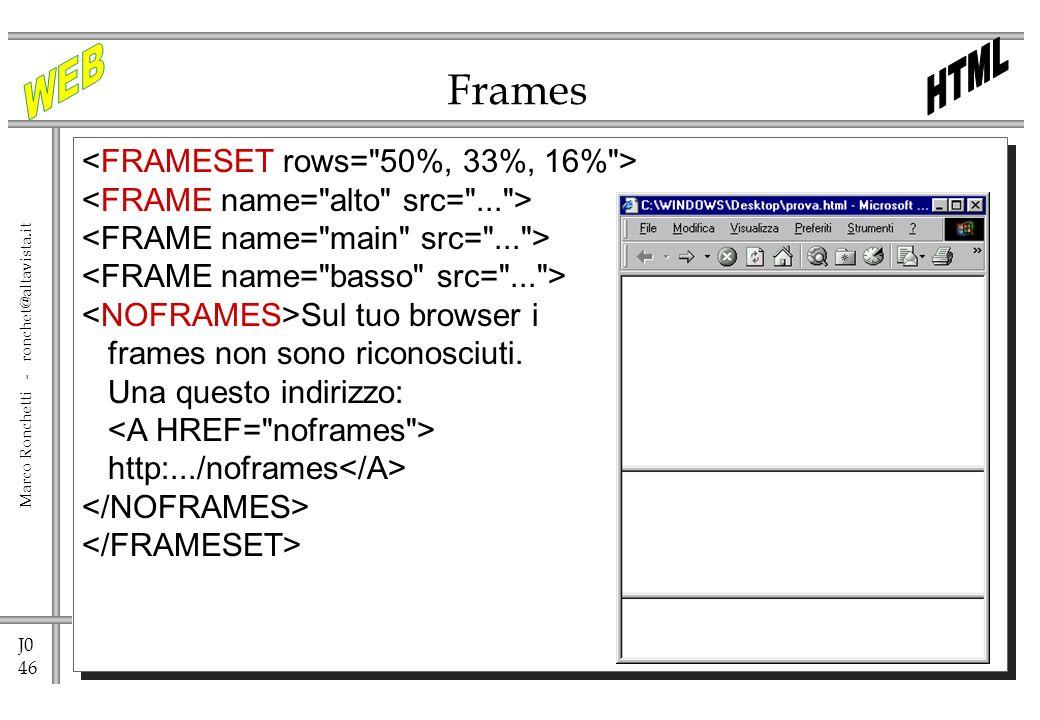 J0 46 Marco Ronchetti - ronchet@altavista.it Frames Sul tuo browser i frames non sono riconosciuti. Una questo indirizzo: http:.../noframes