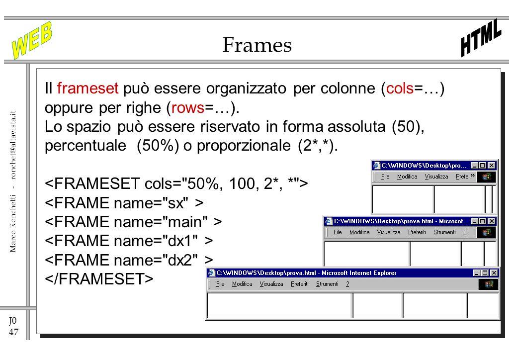 J0 47 Marco Ronchetti - ronchet@altavista.it Frames Il frameset può essere organizzato per colonne (cols=…) oppure per righe (rows=…). Lo spazio può e