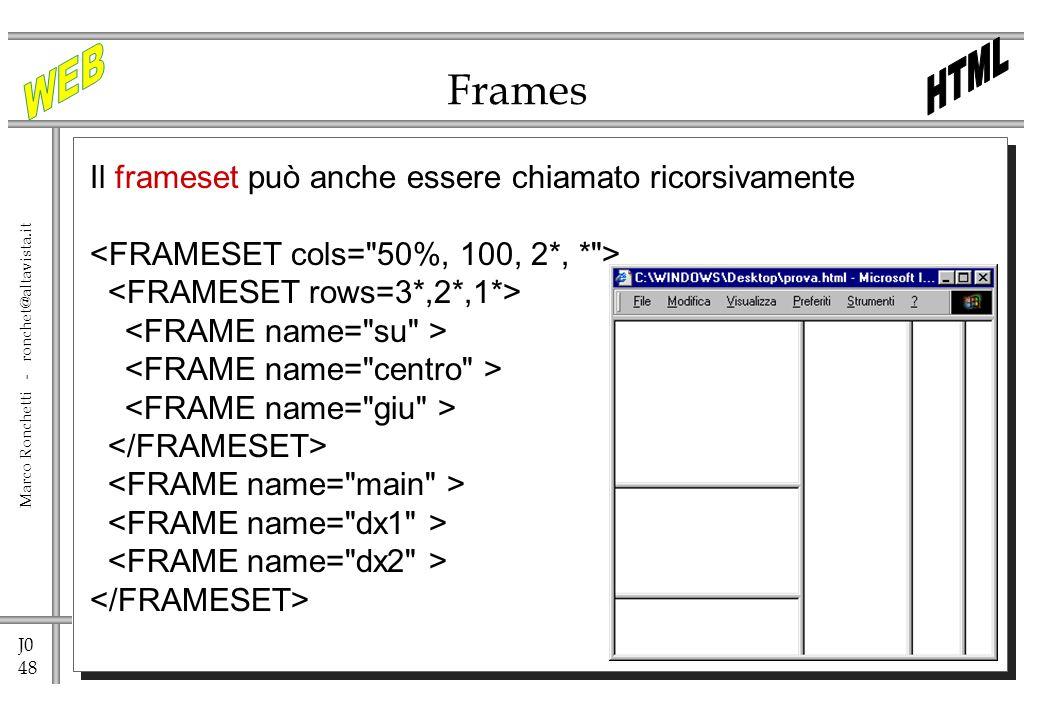 J0 48 Marco Ronchetti - ronchet@altavista.it Frames Il frameset può anche essere chiamato ricorsivamente