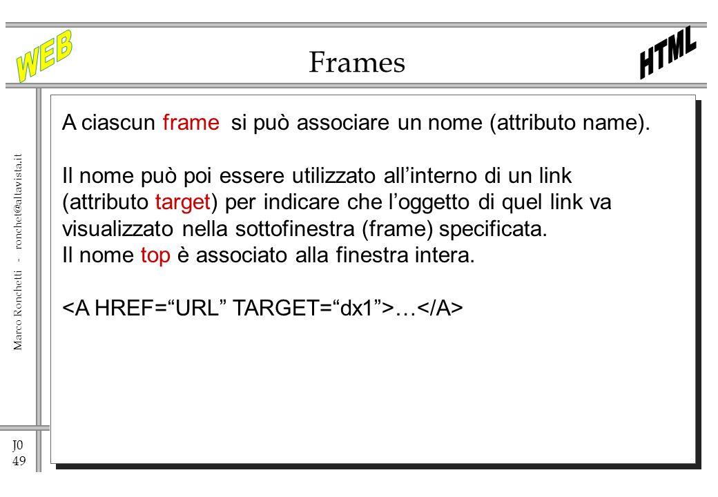 J0 49 Marco Ronchetti - ronchet@altavista.it Frames A ciascun frame si può associare un nome (attributo name). Il nome può poi essere utilizzato allin
