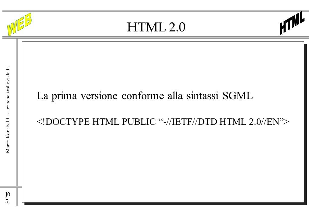 J0 6 Marco Ronchetti - ronchet@altavista.it Struttura di un documento HTML Titolo della pagina Corpo della pagina, visualizzato dal browser Nota: lHTML non è case sensitive