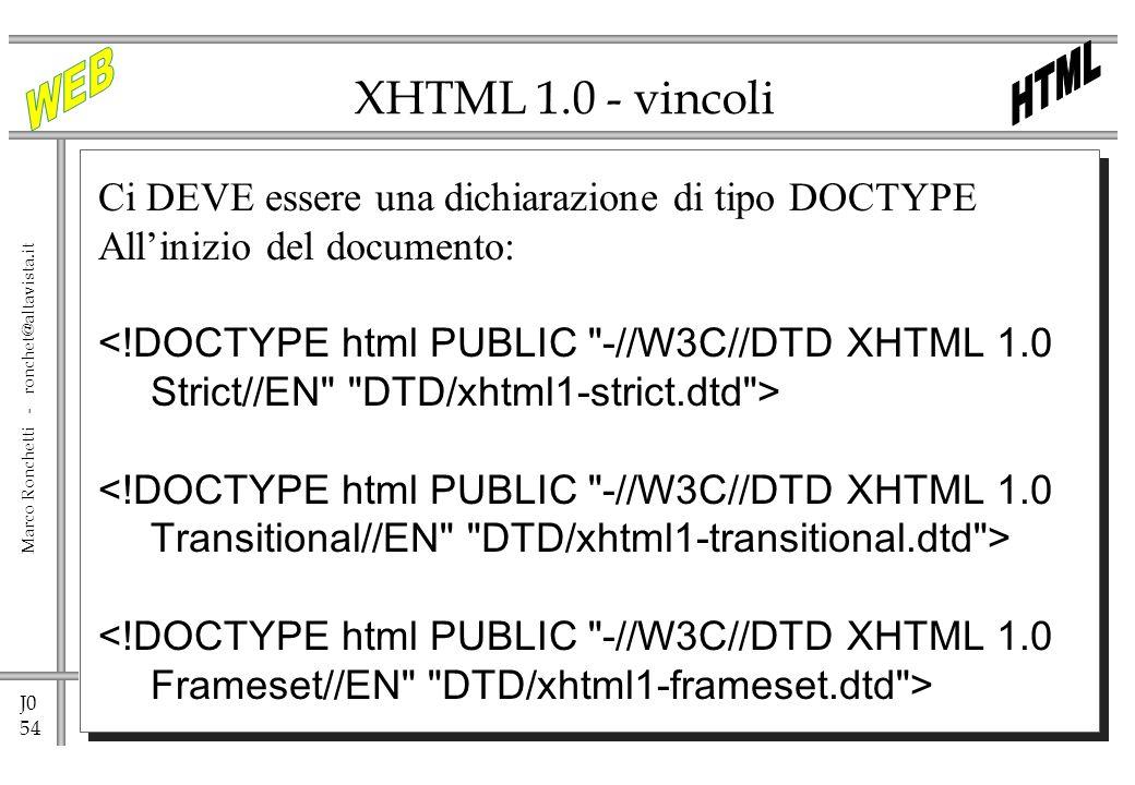 J0 54 Marco Ronchetti - ronchet@altavista.it XHTML 1.0 - vincoli Ci DEVE essere una dichiarazione di tipo DOCTYPE Allinizio del documento: