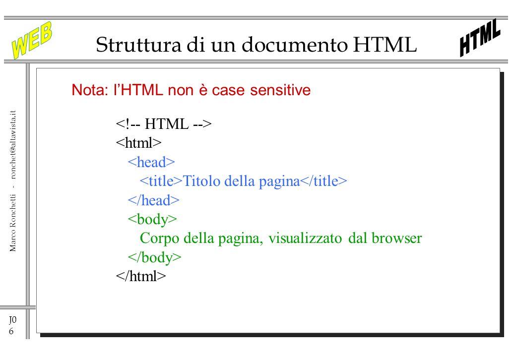 J0 37 Marco Ronchetti - ronchet@altavista.it HTML 4.0 Rilasciato nel dicembre 97 <!DOCTYPE HTML PUBLIC -//W3C//DTD HTML 4.01//EN http://www.w3.org/TR/html4.strict.dtd> Standardizza il supporto dei frame, estende il modello di tabelle, estende il modello dei form, aggiunge levidenziazione della variazione di contenuto, lidentificazione di oggetti generalizzati non HTML, alcune generali descrizioni di testo.