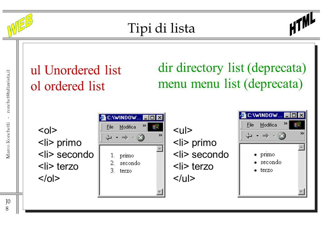J0 8 Marco Ronchetti - ronchet@altavista.it Tipi di lista ul Unordered list ol ordered list primo secondo terzo dir directory list (deprecata) menu me