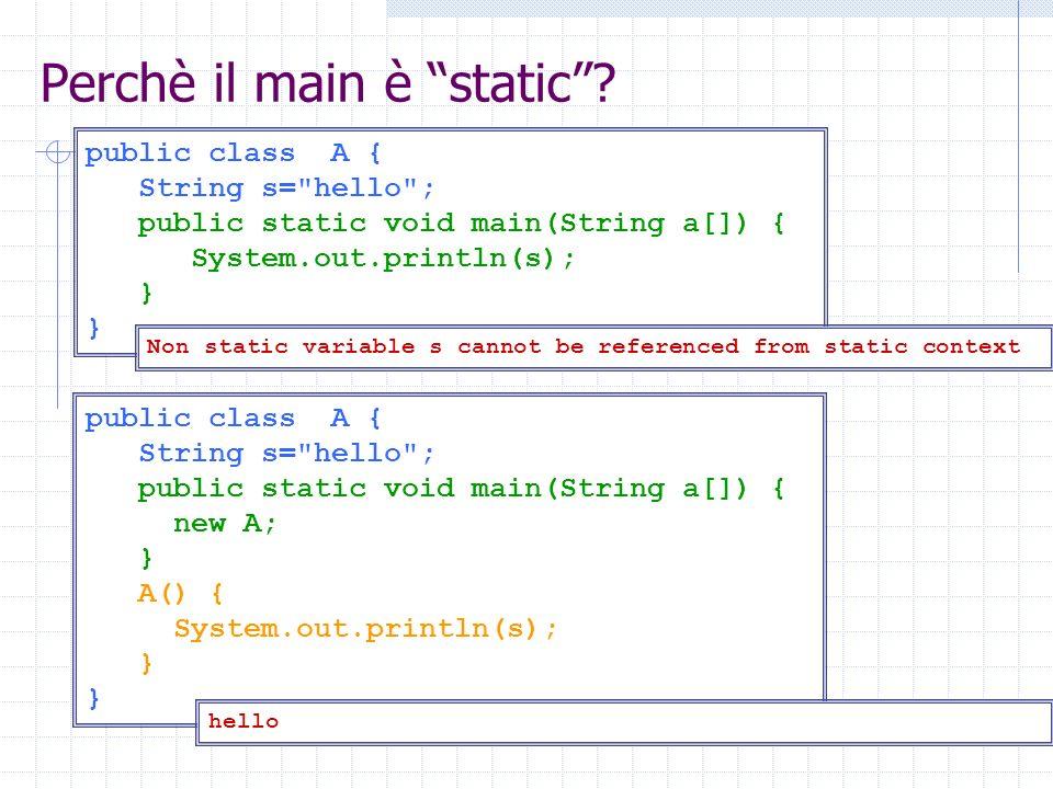 Modificatori: abstract Classi dichiarate abstract non possono essere istanziate, e devono essere subclassate.