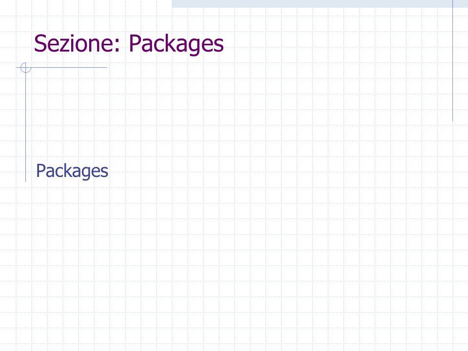 package Una collezione di classi correlate package myclasses; class A {...}; class B {...}; import myclasses.A; import myclasses.*;