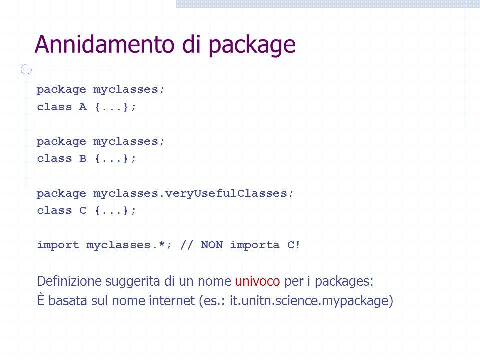 Annidamento di package I packages si riflettono in una struttura di directories myclasses A.classB.class veryUsefulClasses C.class