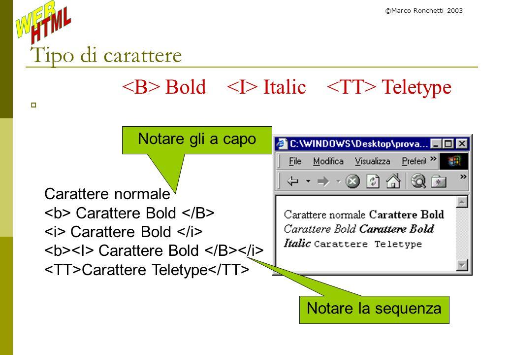 ©Marco Ronchetti 2003 Tipo di carattere Bold Italic Teletype Carattere normale Carattere Bold Carattere Teletype Notare la sequenza Notare gli a capo