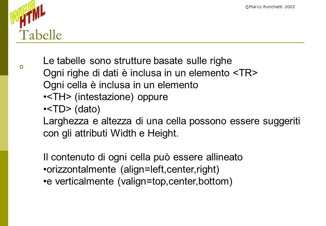 ©Marco Ronchetti 2003 Tabelle Le tabelle sono strutture basate sulle righe Ogni righe di dati è inclusa in un elemento Ogni cella è inclusa in un elem