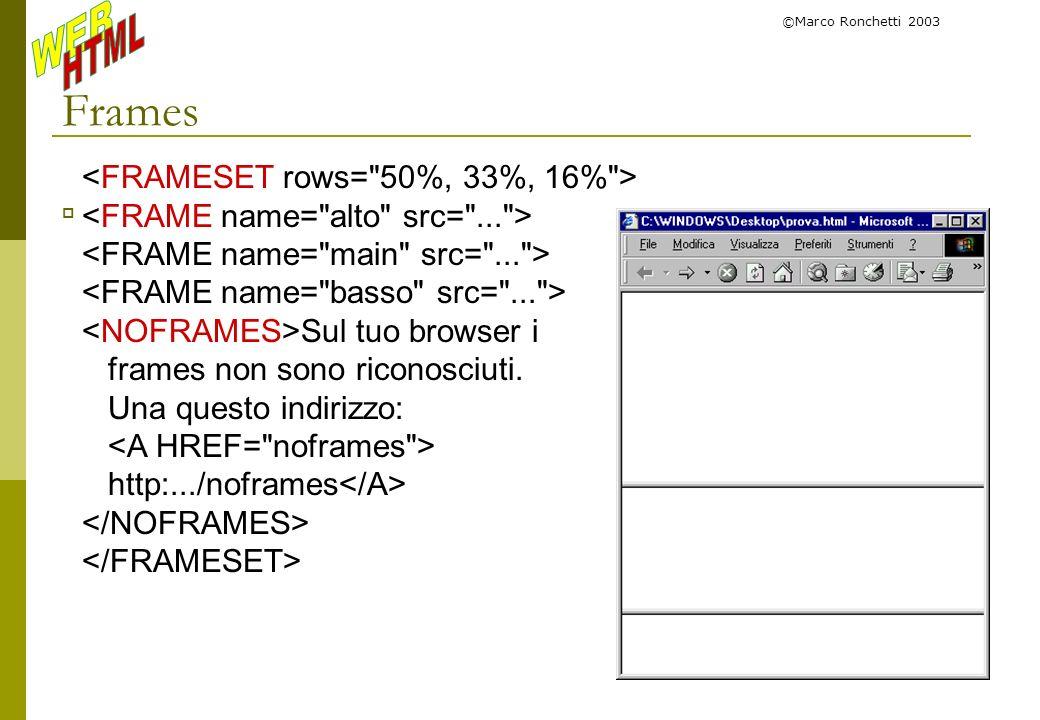 ©Marco Ronchetti 2003 Frames Sul tuo browser i frames non sono riconosciuti. Una questo indirizzo: http:.../noframes