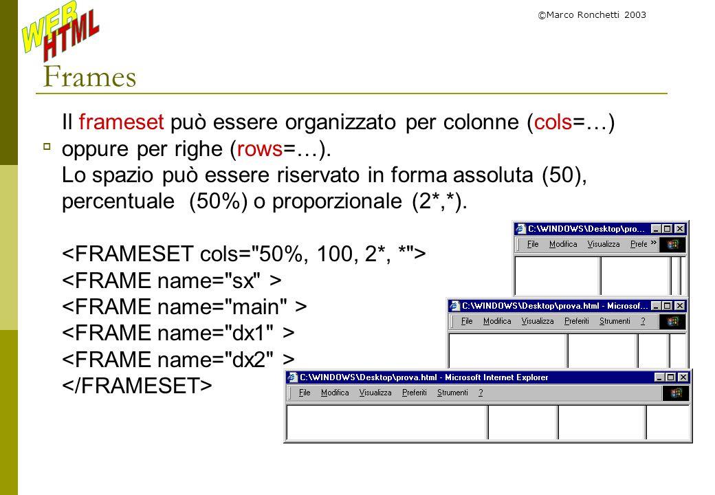 ©Marco Ronchetti 2003 Frames Il frameset può essere organizzato per colonne (cols=…) oppure per righe (rows=…). Lo spazio può essere riservato in form