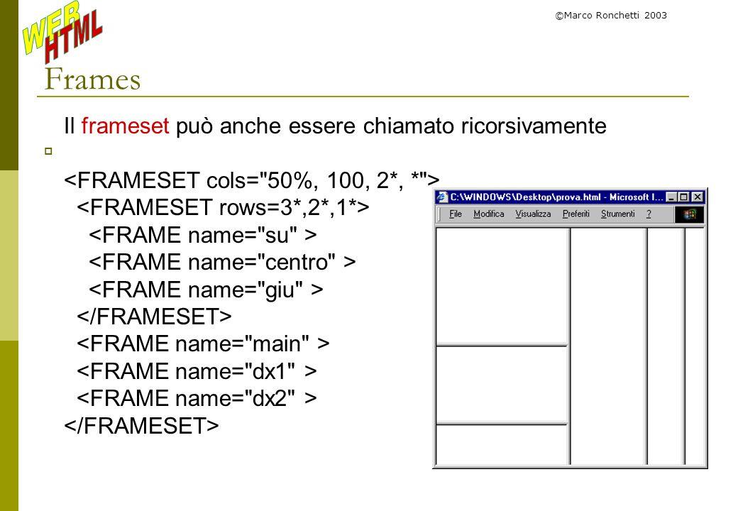 ©Marco Ronchetti 2003 Frames Il frameset può anche essere chiamato ricorsivamente