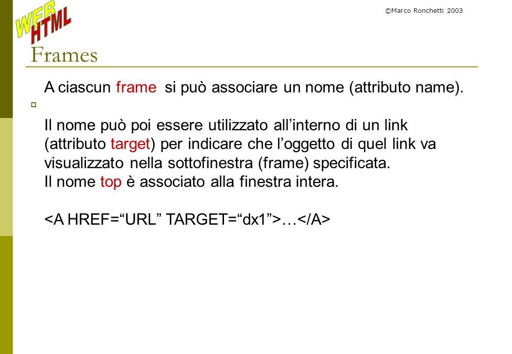 ©Marco Ronchetti 2003 Frames A ciascun frame si può associare un nome (attributo name). Il nome può poi essere utilizzato allinterno di un link (attri