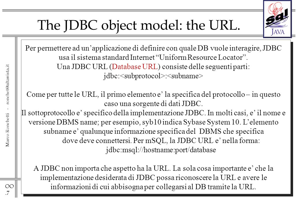 OO.7 Marco Ronchetti - ronchet@altavista.it The JDBC object model: the URL.