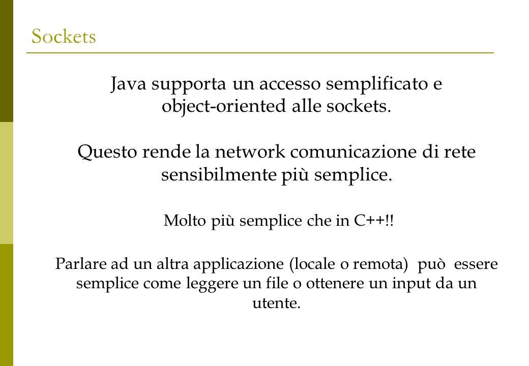 Sockets Java supporta un accesso semplificato e object-oriented alle sockets. Questo rende la network comunicazione di rete sensibilmente più semplice