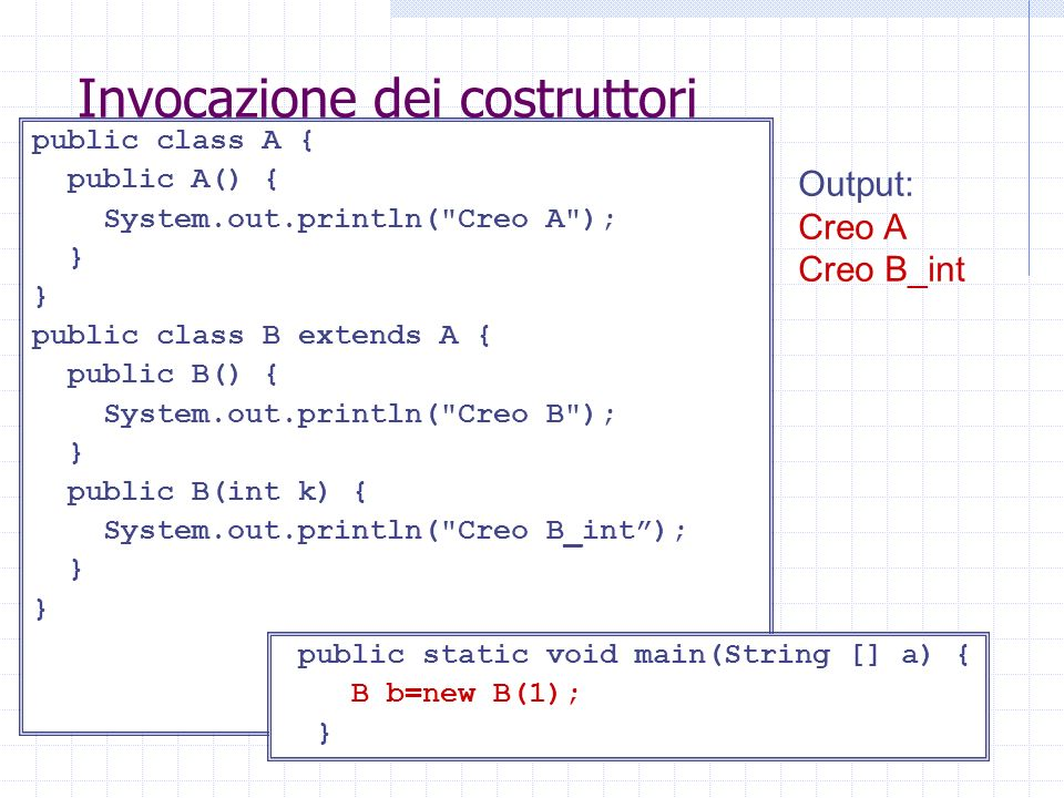 Invocazione dei costruttori public class A { public A() { System.out.println(