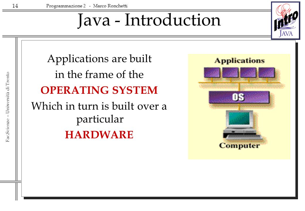 14 Fac.Scienze – Università di Trento Programmazione 2 - Marco Ronchetti Java - Introduction Applications are built in the frame of the OPERATING SYST