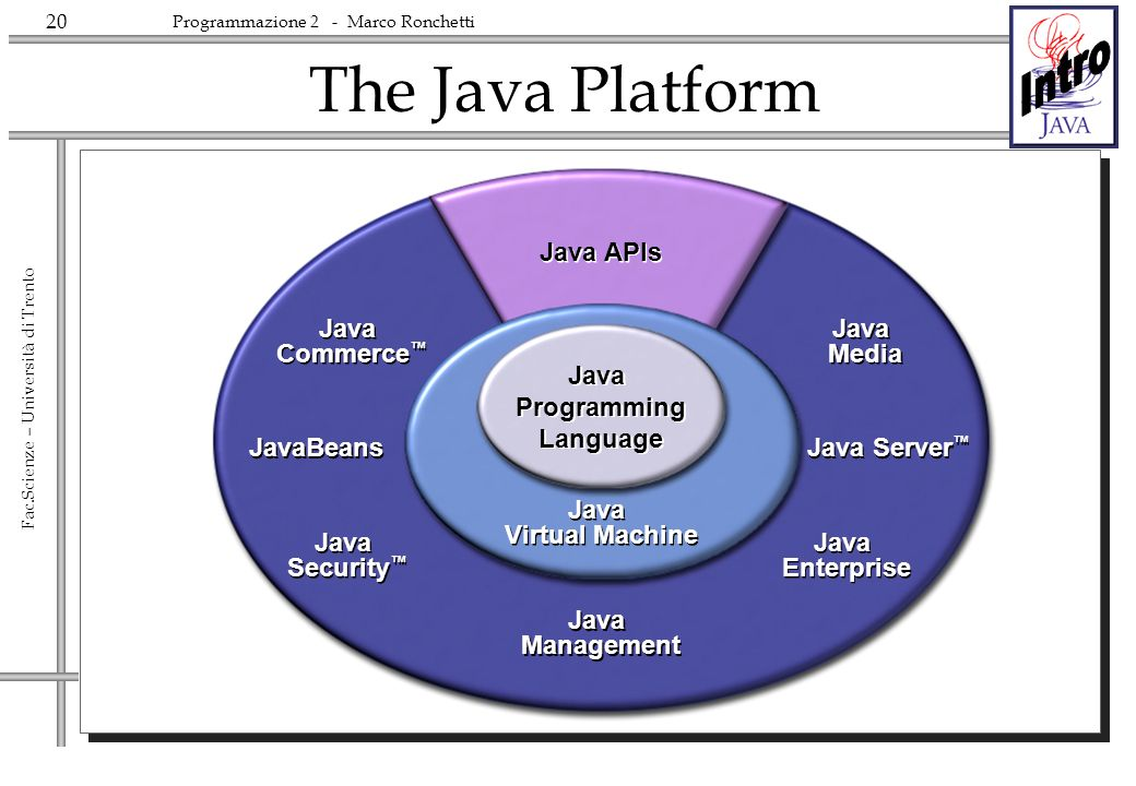 20 Fac.Scienze – Università di Trento Programmazione 2 - Marco Ronchetti The Java Platform Java APIs Java Programming Language Java Virtual Machine Ja
