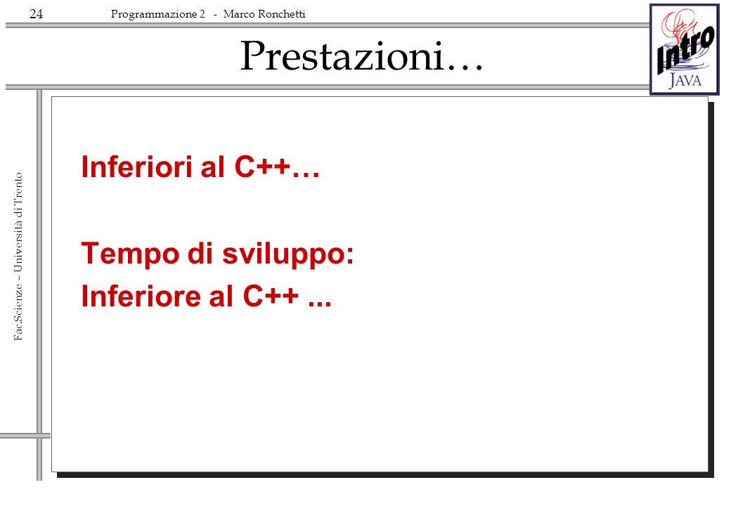 24 Fac.Scienze – Università di Trento Programmazione 2 - Marco Ronchetti Prestazioni… Inferiori al C++… Tempo di sviluppo: Inferiore al C++...