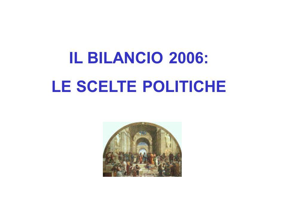 IL BILANCIO 2006: LE SCELTE POLITICHE