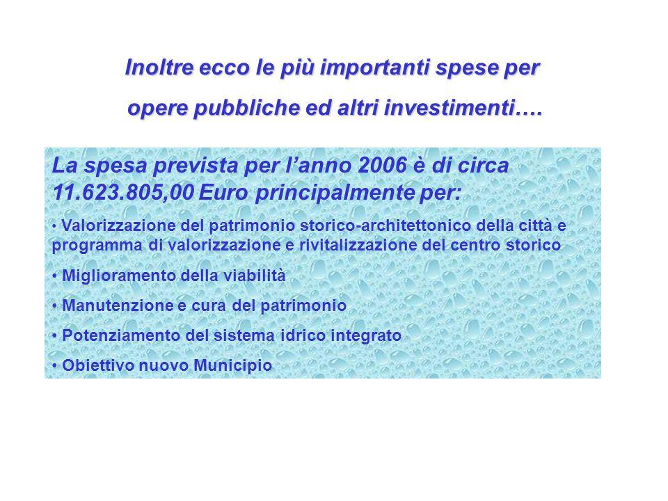 Inoltre ecco le più importanti spese per opere pubbliche ed altri investimenti…. La spesa prevista per lanno 2006 è di circa 11.623.805,00 Euro princi