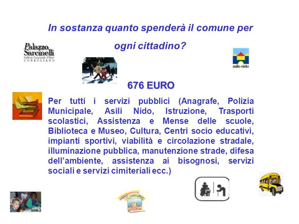In sostanza quanto spenderà il comune per ogni cittadino? 676 EURO Per tutti i servizi pubblici (Anagrafe, Polizia Municipale, Asili Nido, Istruzione,