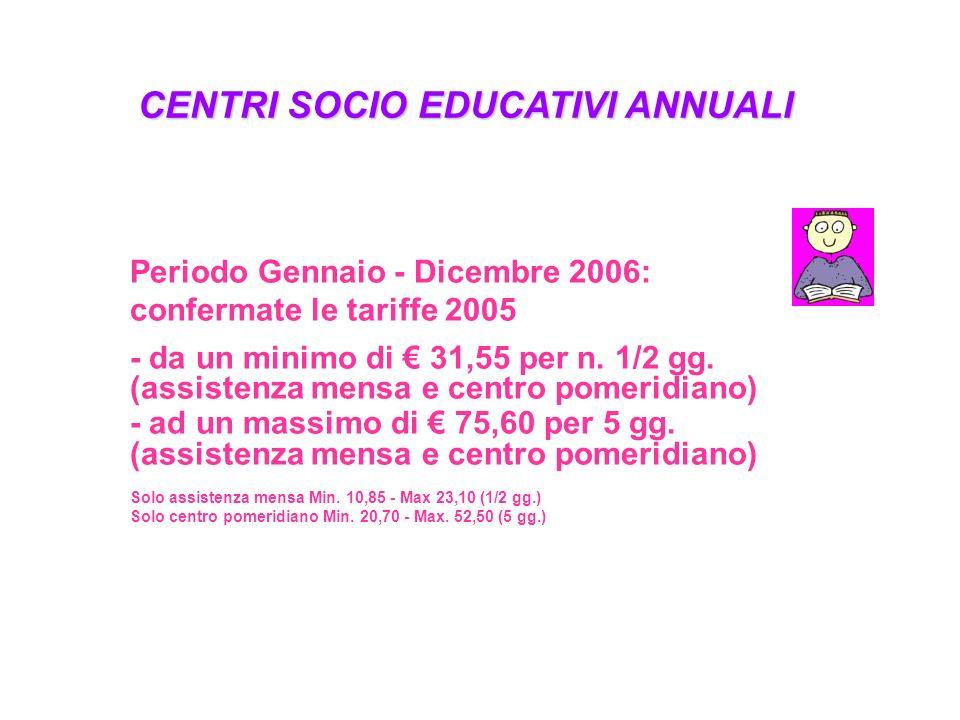 CENTRI SOCIO EDUCATIVI ANNUALI Periodo Gennaio - Dicembre 2006: confermate le tariffe 2005 - da un minimo di 31,55 per n. 1/2 gg. (assistenza mensa e