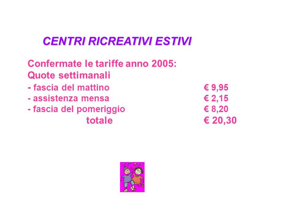 CENTRI RICREATIVI ESTIVI Confermate le tariffe anno 2005: Quote settimanali - fascia del mattino 9,95 - assistenza mensa 2,15 - fascia del pomeriggio 8,20 totale 20,30