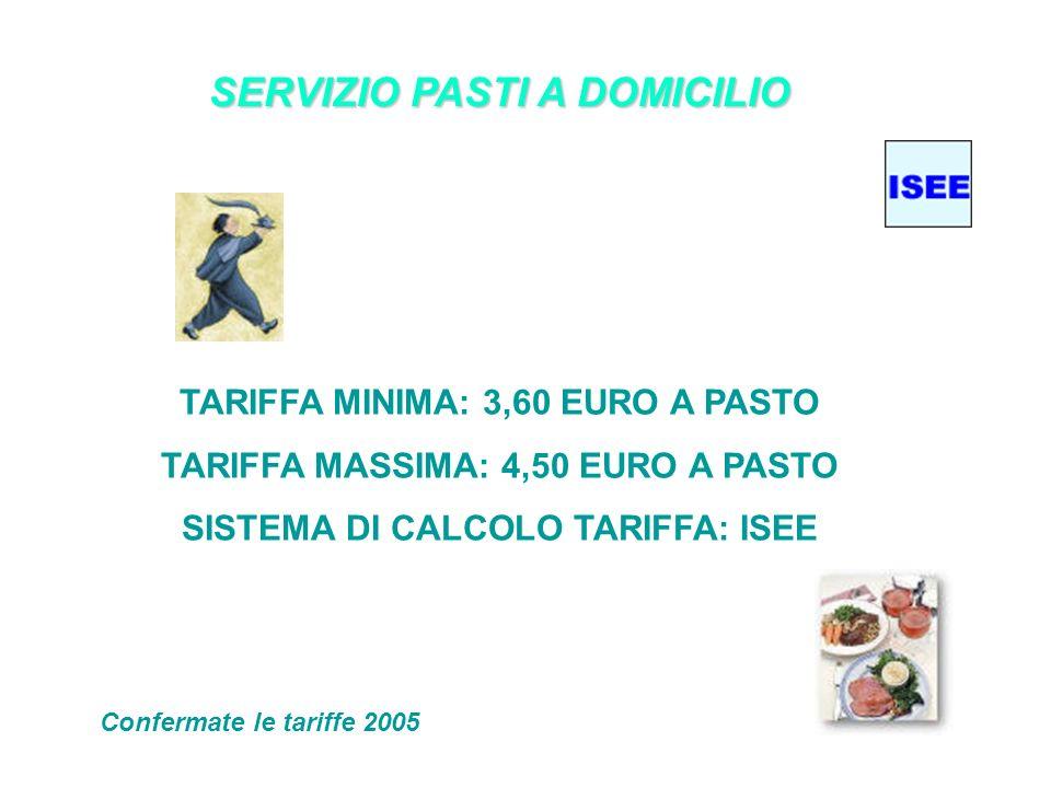 SERVIZIO PASTI A DOMICILIO TARIFFA MINIMA: 3,60 EURO A PASTO TARIFFA MASSIMA: 4,50 EURO A PASTO SISTEMA DI CALCOLO TARIFFA: ISEE Confermate le tariffe 2005