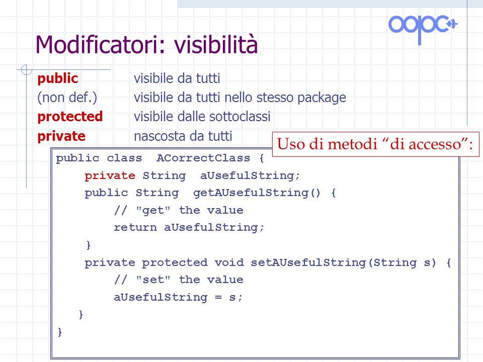 Modificatori: visibilità publicvisibile da tutti (non def.)visibile da tutti nello stesso package protectedvisibile dalle sottoclassi privatenascosta da tutti public class ACorrectClass { private String aUsefulString; public String getAUsefulString() { // get the value return aUsefulString; } private protected void setAUsefulString(String s) { // set the value aUsefulString = s; } Uso di metodi di accesso: