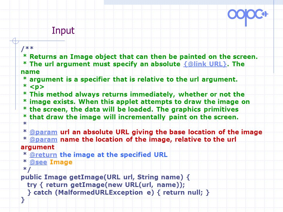 Input /** * Returns an Image object that can then be painted on the screen.