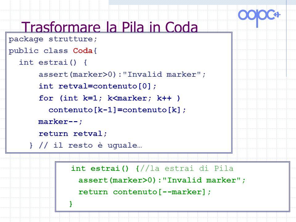 Trasformare la Pila in Coda package strutture; public class Coda{ int estrai() { assert(marker>0): Invalid marker ; int retval=contenuto[0]; for (int k=1; k<marker; k++ ) contenuto[k-1]=contenuto[k]; marker--; return retval; } // il resto è uguale… int estrai() {//la estrai di Pila assert(marker>0): Invalid marker ; return contenuto[--marker]; }