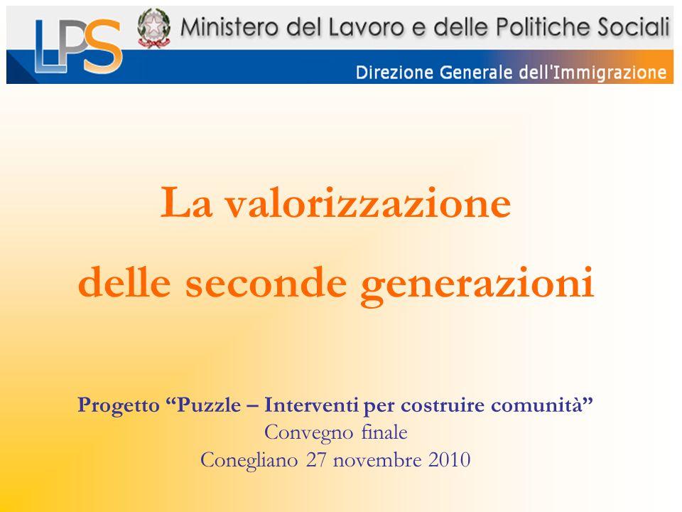 La valorizzazione delle seconde generazioni Progetto Puzzle – Interventi per costruire comunità Convegno finale Conegliano 27 novembre 2010