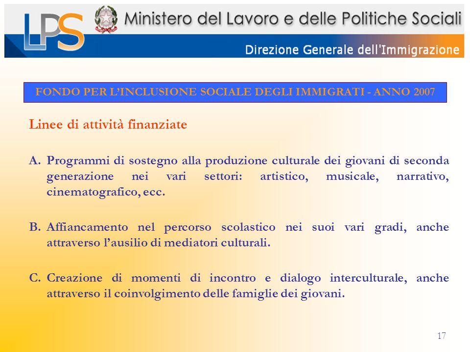 17 FONDO PER LINCLUSIONE SOCIALE DEGLI IMMIGRATI - ANNO 2007 Linee di attività finanziate A.Programmi di sostegno alla produzione culturale dei giovan