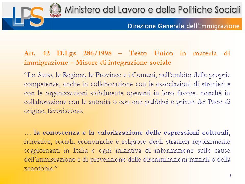 3 Art. 42 D.Lgs 286/1998 – Testo Unico in materia di immigrazione – Misure di integrazione sociale Lo Stato, le Regioni, le Province e i Comuni, nella