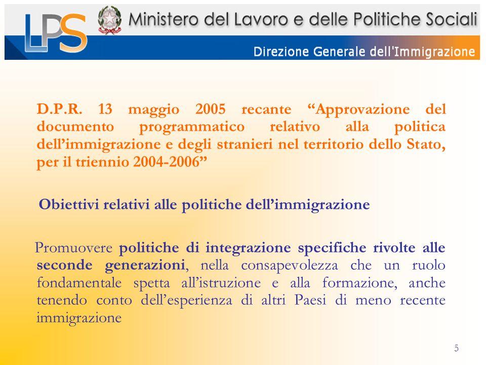5 D.P.R. 13 maggio 2005 recante Approvazione del documento programmatico relativo alla politica dellimmigrazione e degli stranieri nel territorio dell