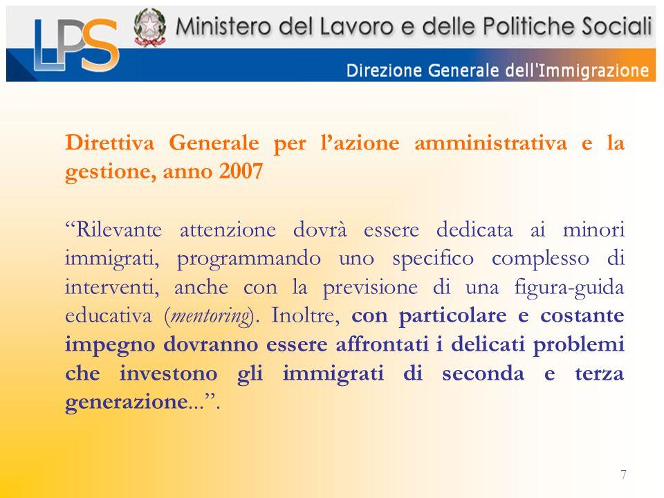 7 Direttiva Generale per lazione amministrativa e la gestione, anno 2007 Rilevante attenzione dovrà essere dedicata ai minori immigrati, programmando