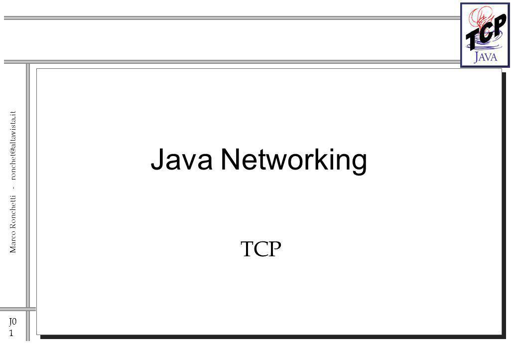 J0 2 Marco Ronchetti - ronchet@altavista.it Sockets Java supporta un accesso semplificato e object- oriented alle sockets.
