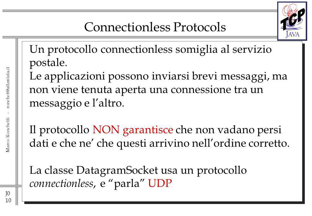 J0 10 Marco Ronchetti - ronchet@altavista.it Connectionless Protocols Un protocollo connectionless somiglia al servizio postale.