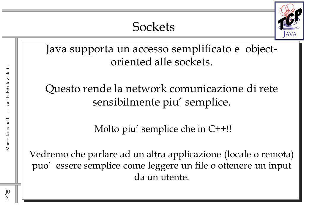J0 13 Marco Ronchetti - ronchet@altavista.it java.net.Socket Questa classe implementa una socket per interprocess communication over the network.
