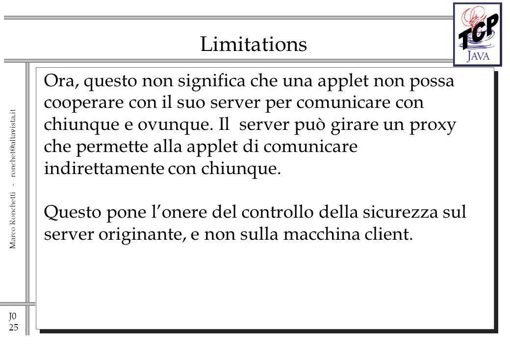 J0 25 Marco Ronchetti - ronchet@altavista.it Limitations Ora, questo non significa che una applet non possa cooperare con il suo server per comunicare con chiunque e ovunque.