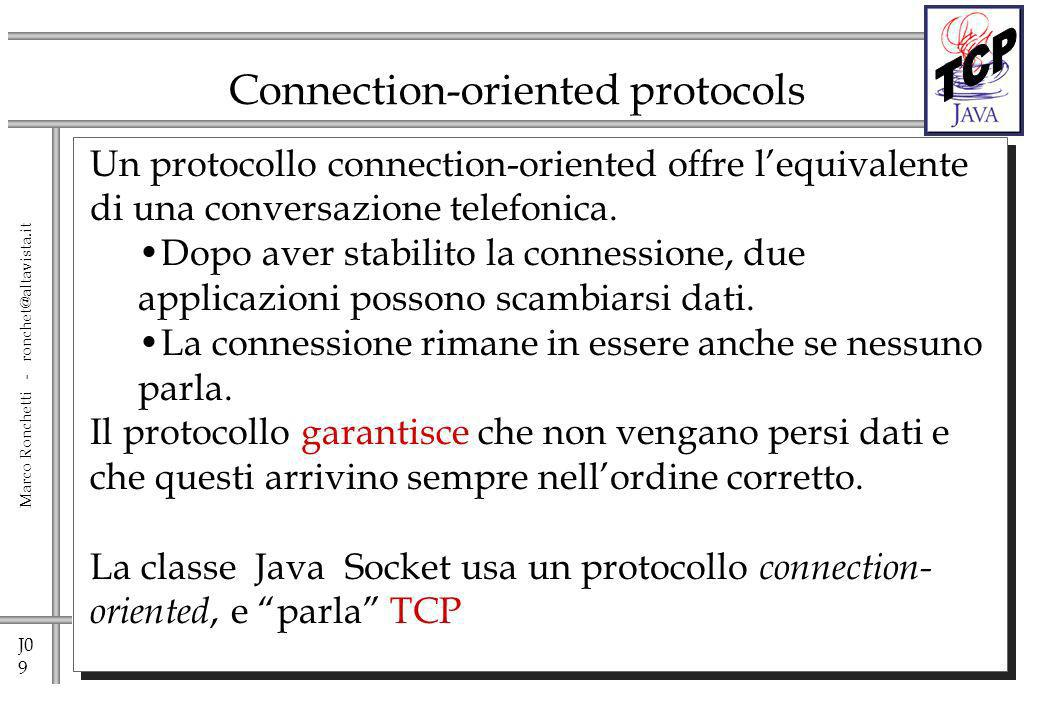 J0 20 Marco Ronchetti - ronchet@altavista.it Reading & Writing raw bytes – Server side try { ServerSocket listener = new ServerSocket( 1234 ); while ( !finished ) { Socket aClient = listener.accept(); // wait for connection InputStream in = aClient.getInputStream(); OutputStream out = aClient.getOutputStream(); // Read a byte Byte importantByte = in.read(); // Write a byte out.write(43); aClient.close(); } listener.close(); } catch (IOException e ) { }