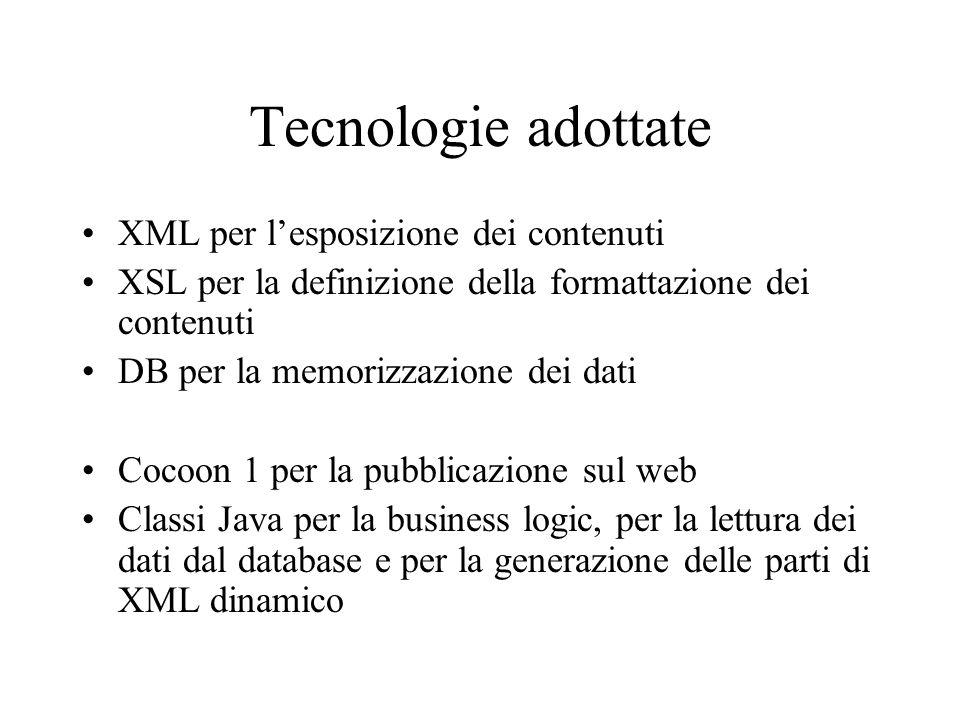 Tecnologie adottate XML per lesposizione dei contenuti XSL per la definizione della formattazione dei contenuti DB per la memorizzazione dei dati Cocoon 1 per la pubblicazione sul web Classi Java per la business logic, per la lettura dei dati dal database e per la generazione delle parti di XML dinamico