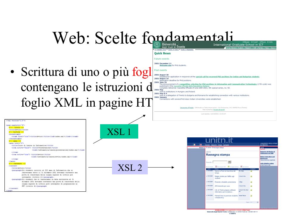Pagine a contenuto fortemente caratterizzato Alcuni tipi di pagine hanno una forte caratterizzazione in termini di contenuto informativo –pagine docenti –pagine dei corsi –pagine contenenti avvisi di seminario, … La pubblicazione sul web tramite pagine (statiche o dinamiche) di questo tipo di informazioni è solo uno dei possibili modi di renderla disponibile allutente Si è scelto di non memorizzare questo tipo di informazioni in fogli XML conformi al DTD definito per le pagine del sito, ma in fogli XML conformi a DTD specifici per il tipo di informazione contenuta