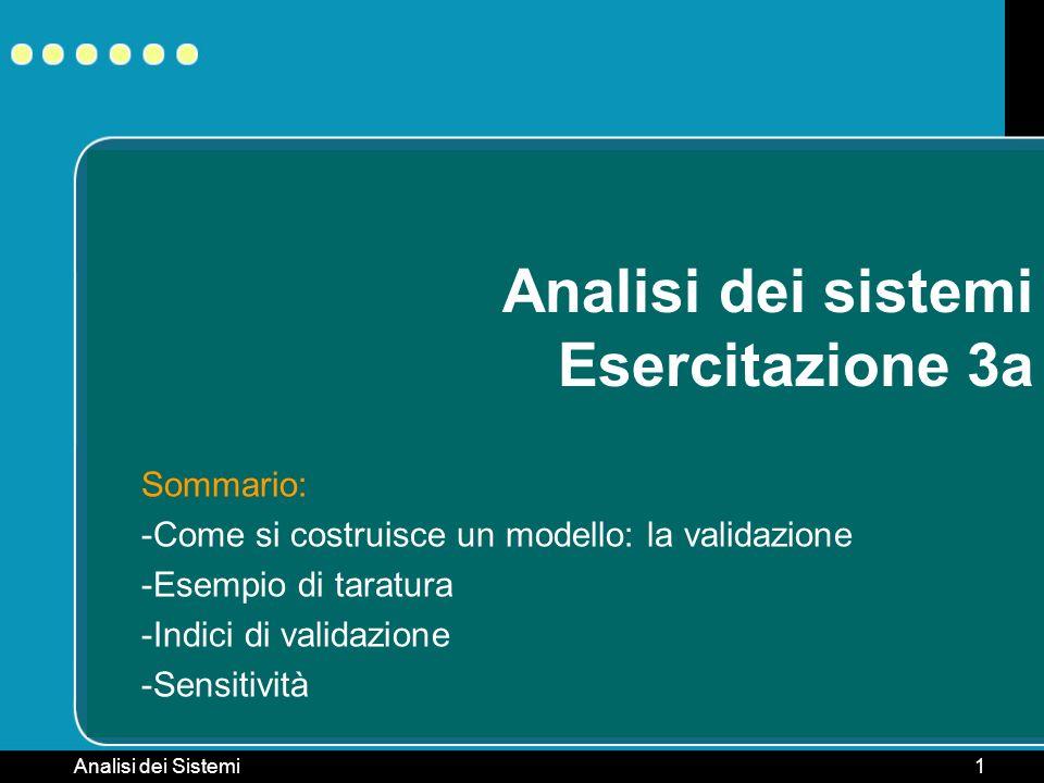 Analisi dei Sistemi1 Analisi dei sistemi Esercitazione 3a Sommario: -Come si costruisce un modello: la validazione -Esempio di taratura -Indici di val