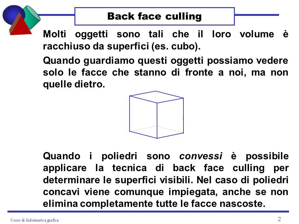 Corso di Informatica grafica 2 Back face culling Molti oggetti sono tali che il loro volume è racchiuso da superfici (es.