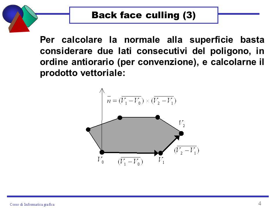 Corso di Informatica grafica 4 Back face culling (3) Per calcolare la normale alla superficie basta considerare due lati consecutivi del poligono, in ordine antiorario (per convenzione), e calcolarne il prodotto vettoriale: