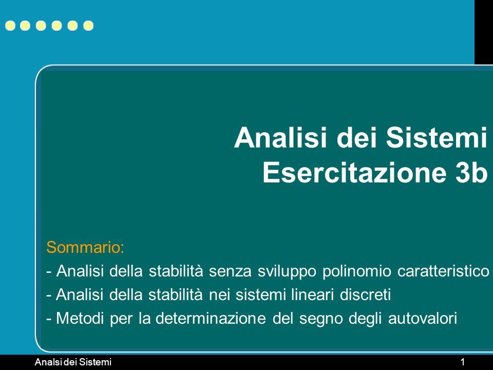 Analsi dei Sistemi1 Analisi dei Sistemi Esercitazione 3b Sommario: - Analisi della stabilità senza sviluppo polinomio caratteristico - Analisi della s